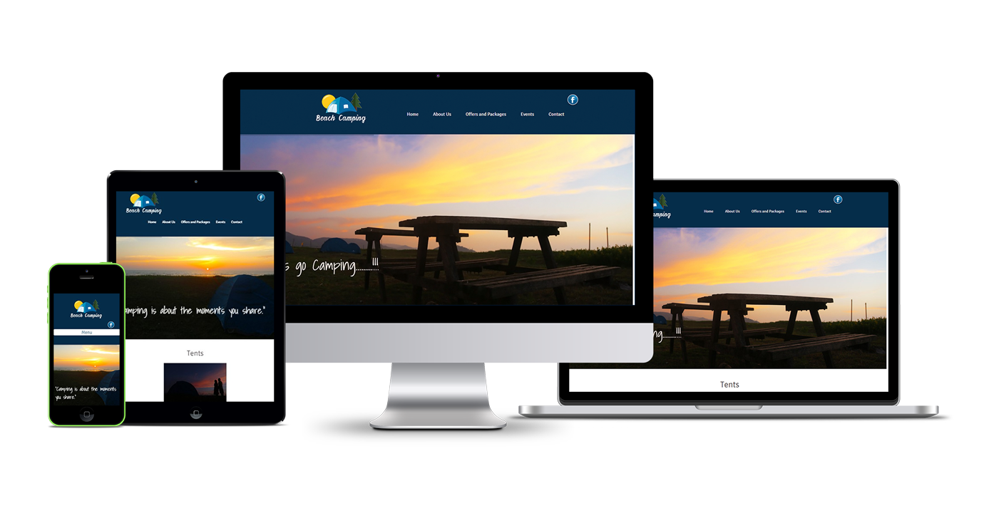 Beach Camping website development