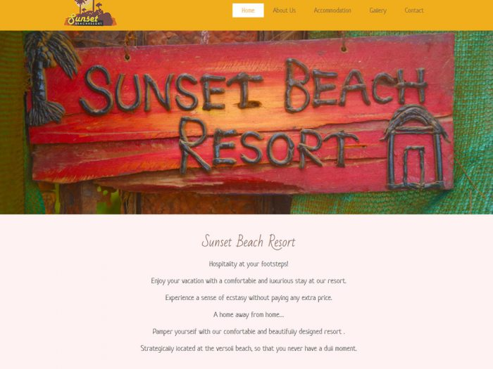 Sunset Beach Resort Website Design