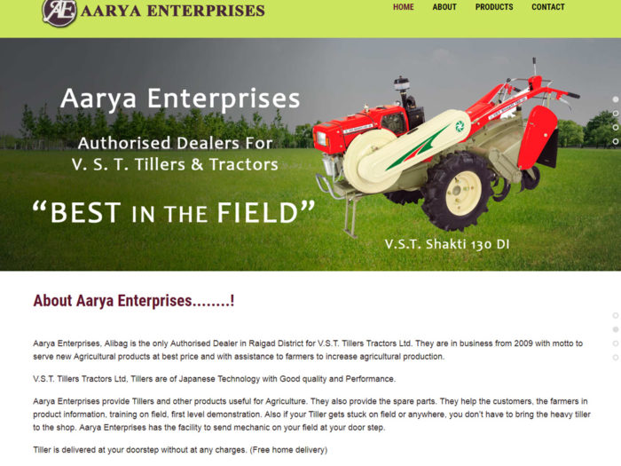Aarya Enterprises Website Design