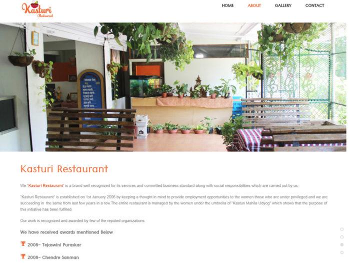 Kasturi Restaurant Wbsite Design